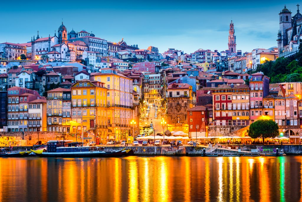 Porto,,Portugal,Old,City,Skyline,From,Across,The,Douro,River.
